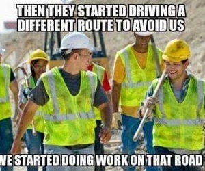 construction, funny, and traffic image