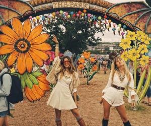 boho, festival, and flowers image
