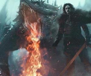 game of thrones, dragon, and jon snow image