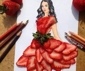 strawberry, art, and dress image