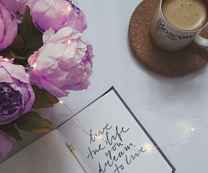coffee, flowers, and lettering image