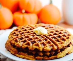 pumpkin, fall, and waffles image