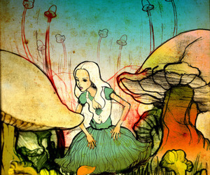 alice, mushroom, and alice in wonderland image