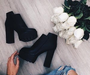 shoes, rose, and flowers image