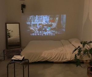 bed, projector, and bedroom image