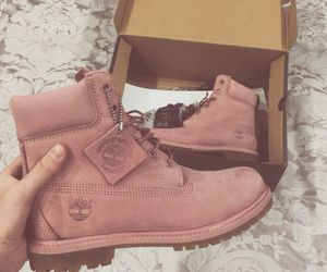 pink, shoes, and timberland image