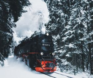 snow, train, and travel image