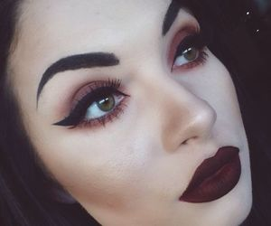 eyelashes, girl, and make up image