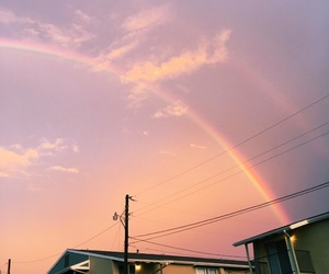 sky, pink, and rainbow image