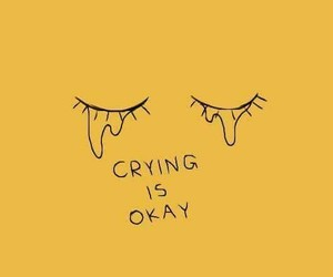 crying, okay, and yellow image