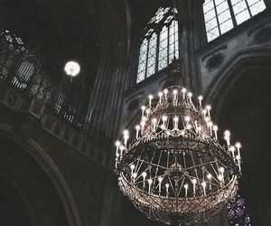 dark, architecture, and chandelier image