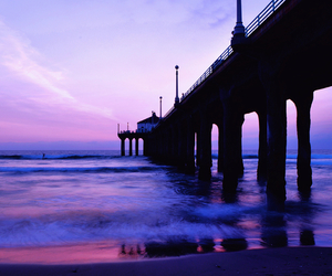 sunset, beach, and purple image