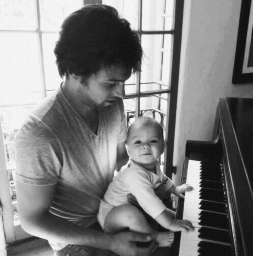 baby, piano, and dad image