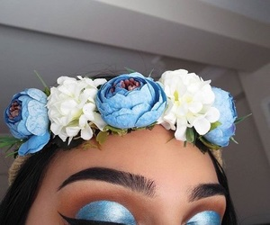blue, eyebrows, and flowers image