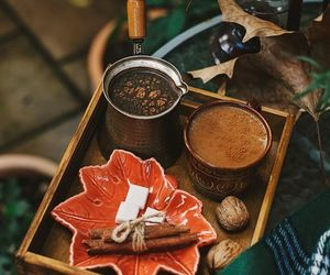 autumn, coffee, and leaves image