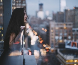 boken, city lights, and dark image