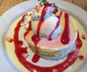 pancakes, strawberry, and food image