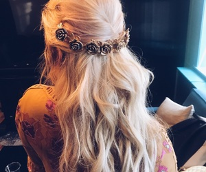 blonde, crown, and fashion image