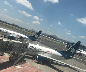 airplane, airport, and summer image