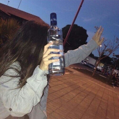 girl, tumblr, and vodka image