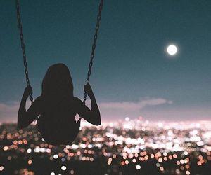 city, lights, and moon image