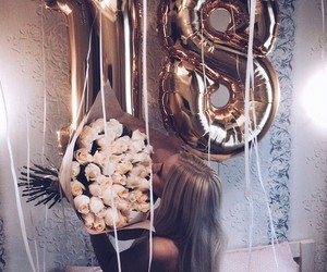 18, balloons, and beautiful girl image
