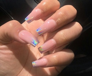 nails, pink, and holo image