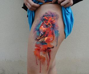 fox tattoo, watercolor tattoo, and tattoo image