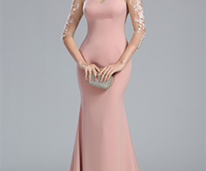 evening dress, lace dress, and party dress image