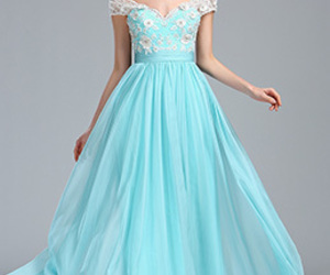 a-line, lace, and long dress image