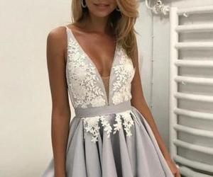 short prom dress, short party dress, and deep v neck prom dresses image