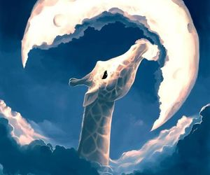moon, giraffe, and art image