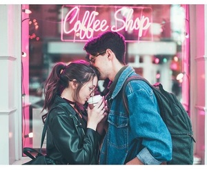 coffee, coffee shop, and girl boy image