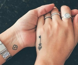 tattoo, couple, and hand image
