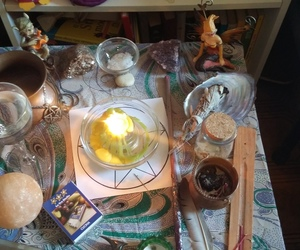 altar, candle, and crystal image