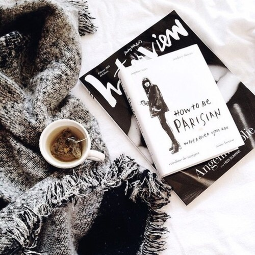book, tea, and white image
