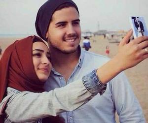 couple, hijab, and muslim image