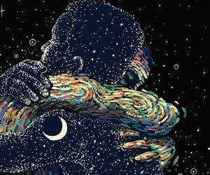 love, moon, and art image