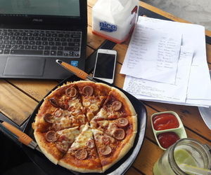 notebook, pizza, and work image