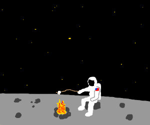 astronaut, marshmallow, and moon image
