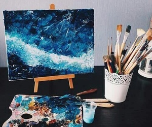 art, blue, and painting image