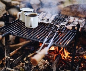 autumn, camping, and coffee image