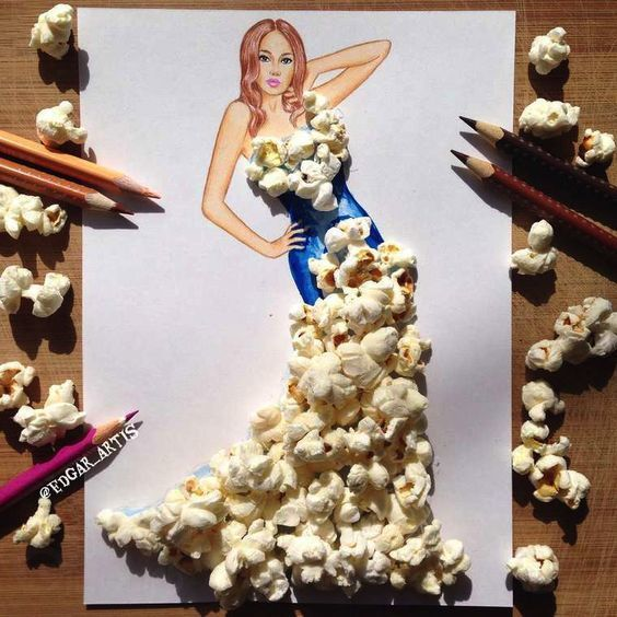 art, drawing, and popcorn image