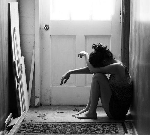 girl, sad, and black and white image