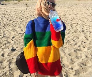 beach, rainbow, and fashion image