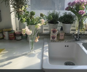 flowers, kitchen, and plants image