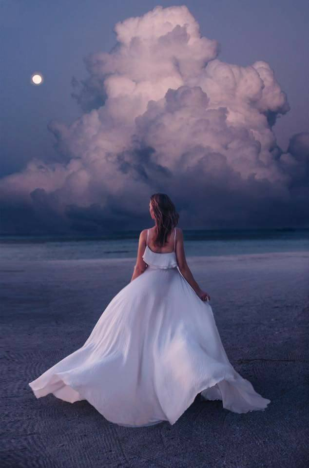 dress, moon, and beach image
