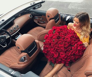 car, roses, and flowers image