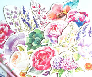 embellishment, flower drawing, and thank you card image