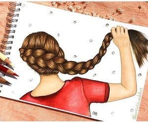 art, braid, and hairstyle image